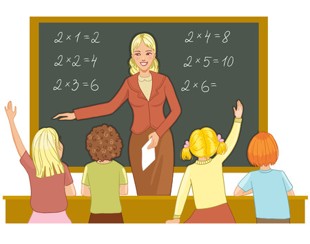 student teacher: Teacher at blackboard explains children mathematics
