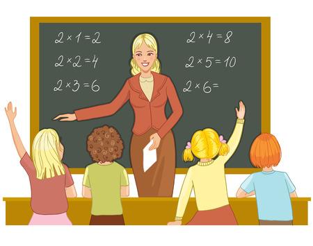 teacher desk: Teacher at blackboard explains children mathematics