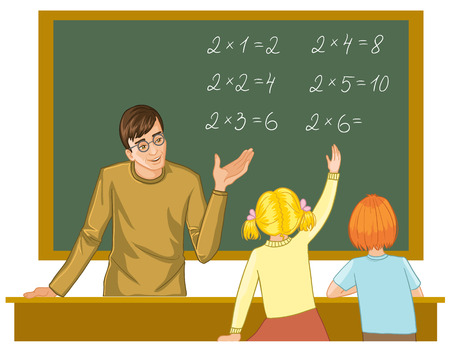 Teacher at blackboard explains children mathematics