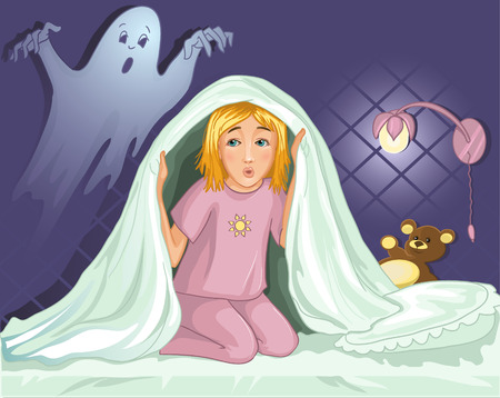 can not: Little girl can not sleep because has fear in the night Illustration