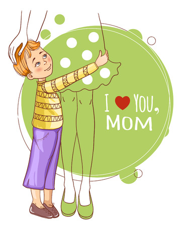 Little boy embraces his mother Vector