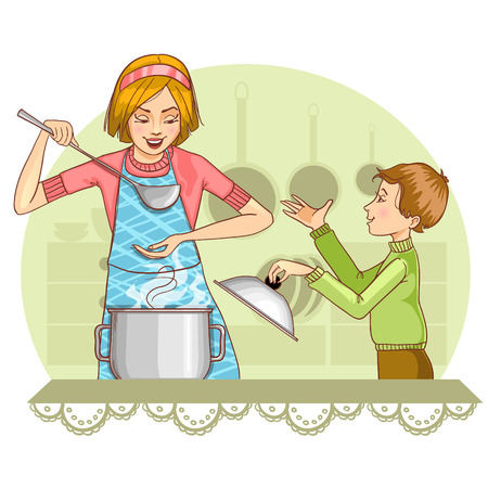 Mother and son tests food in the kitchen