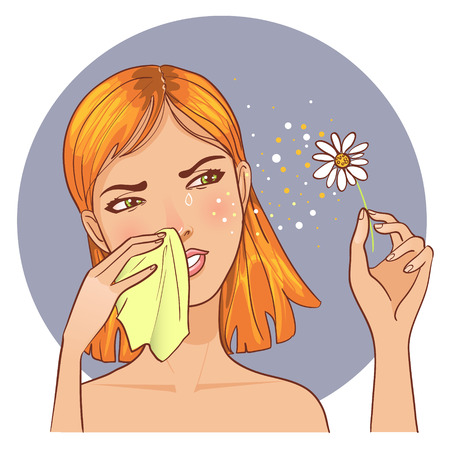 blowing nose: Sneezing in handkerchief woman because of allergy