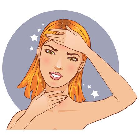 Ziek meisje klaagt over hoofdpijn en pijn in de nek Stockfoto - 28515366