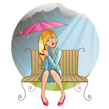 Girl with umbrella sitting on the bench at rain, eps10 Vector