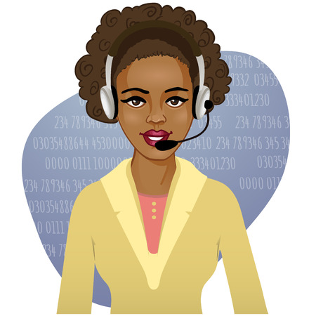 call centre girl: Young African American woman a call operator, eps10  Illustration