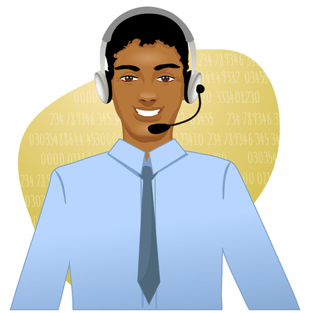 Young African American man a call operator, eps10  Stock Illustratie