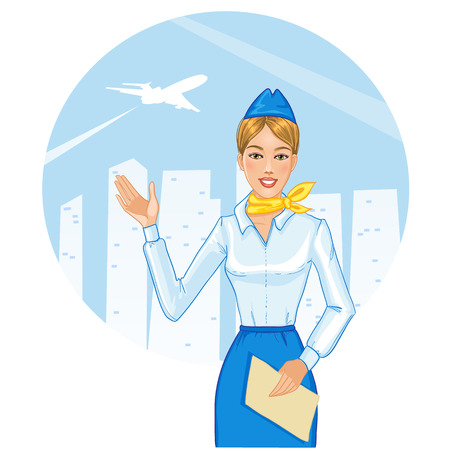 Young cheerful stewardess, eps10 Vector