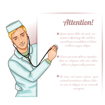 pediatrics: Nurse boy with stethoscope at placard