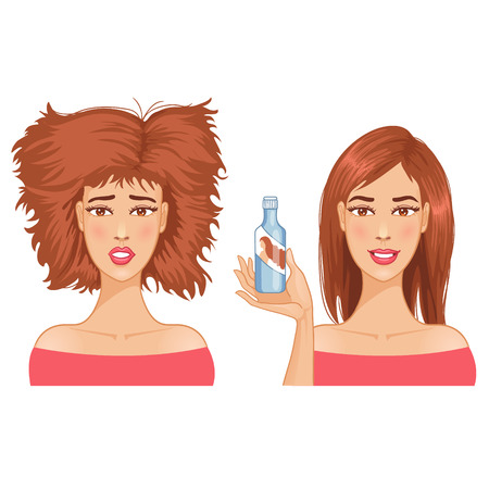 hair do: Young woman with hair-dress before and after care
