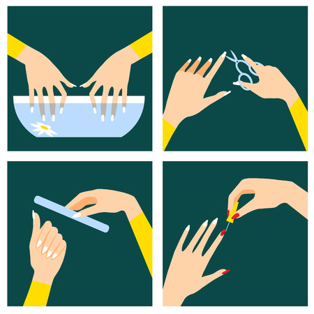 manicure: Icons set in flat design style with woman hands that do spa procedures and manicure