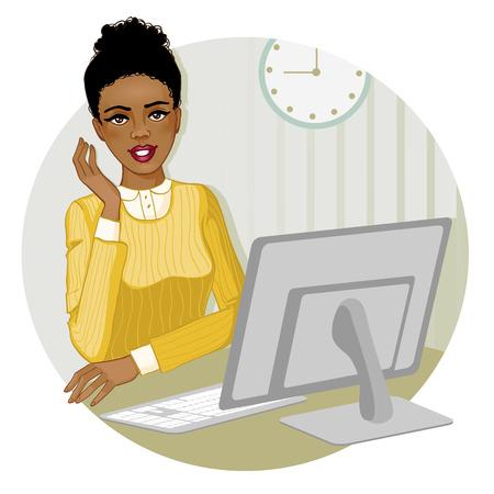 oficina: Mujer joven del afroamericano en el ordenador