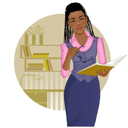 Business vrouw met tijdschrift buurt bureau