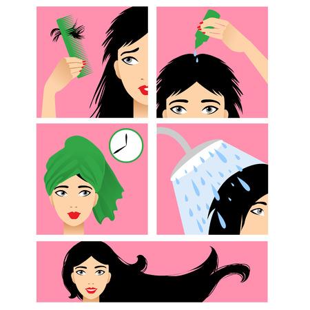 Symbole im flachen Design-Stil mit Haarbehandlung, nur wenige Schritte, um zu verhindern, Haarausfall
