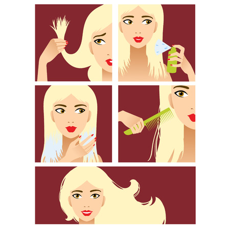 Icons set in flat design style with hair treatment, steps to prevent hair damage  Иллюстрация