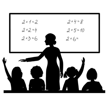niños estudiando: Profesor en la pizarra en el aula con los niños Vectores