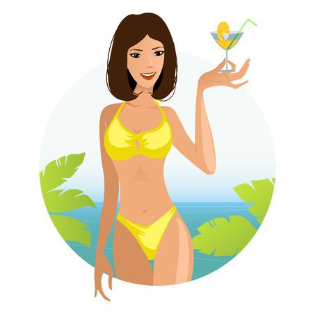 sexy bikini girl: Beautiful summer woman on the beach with cocktail