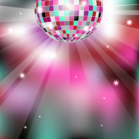 fiestas discoteca: El fondo con la bola de discoteca Vectores