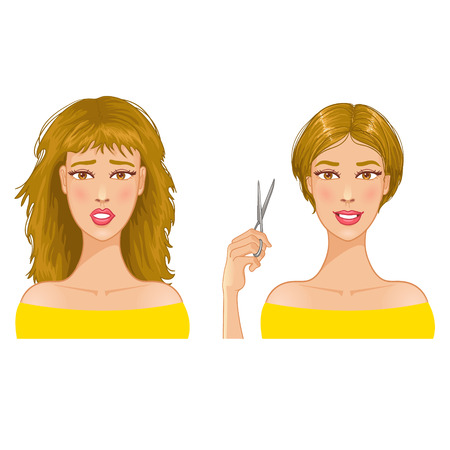 Young woman with hair-dress before and after haircut Vector