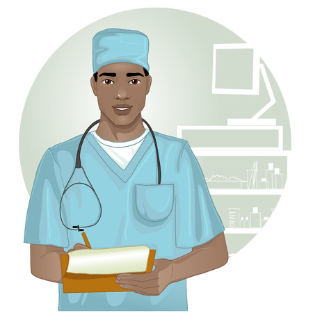 doctor who: African american doctor with stethoscope who writes notes
