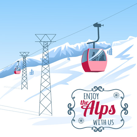 ski lodge: Vector background, postcard with cable-way in the Alps