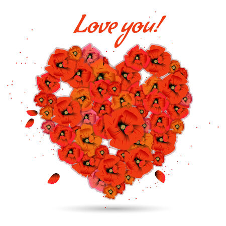 Floral decorative heart with poppies on white background Vector