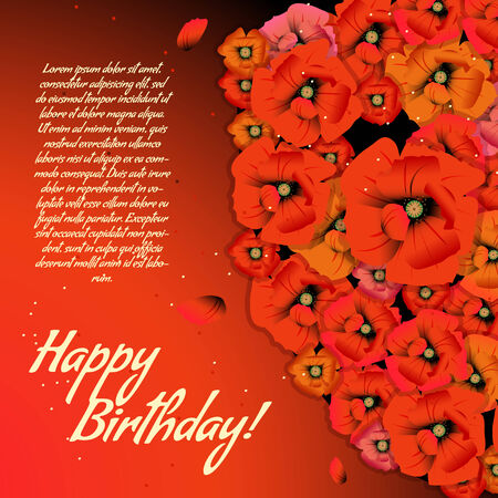 Floral decorative card with poppies with place for your text Vector