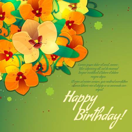 Floral decorative card with orchid with place for your text Vector