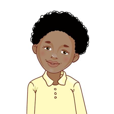 Teenager cartoon African American boy with curly hair