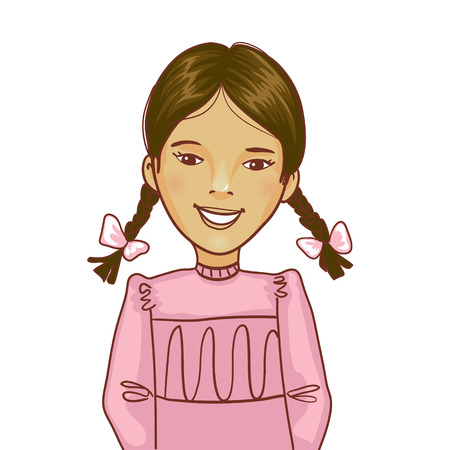 distinct: Teenager cartoon girl with two distinct braids Illustration