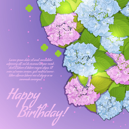 Floral decorative card with hydrangea with place for your text, EPS10 Vector