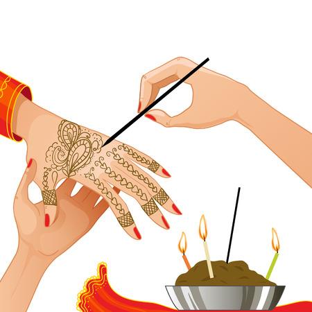 beeld van de ceremonie bij henna avond Stock Illustratie