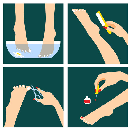 Icons set in flat design style with woman feet that do spa procedures and pedicure Illustration