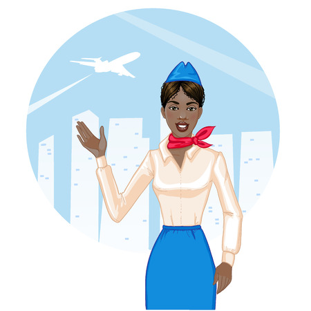 american field service: Young cheerful african american stewardess Illustration