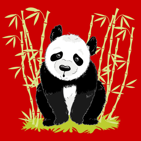 bearcat: big cartoon panda on red background with bamboo