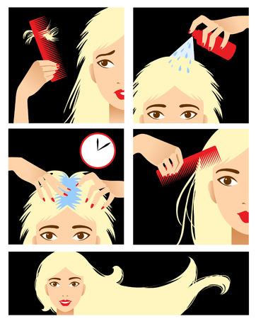 tratamiento capilar: Iconos fijados en el estilo de dise�o plano con el tratamiento del cabello