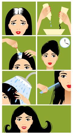 tinte cabello: Iconos fijados en el estilo de diseño plano con el tratamiento del cabello