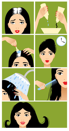 hair color: Icons set in flat design style with hair treatment Illustration