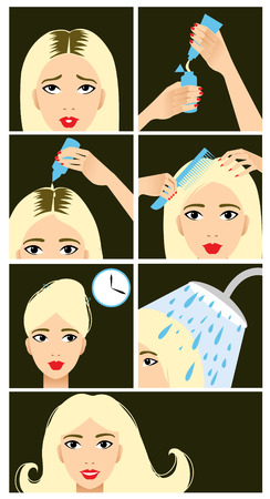 hair color: Icons set in flat design style with hair treatment, steps to color hair  Illustration