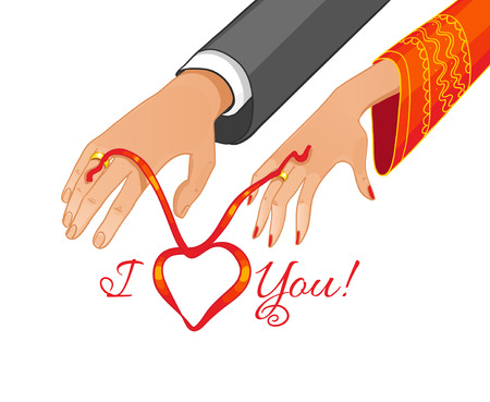betrothal: Vector image of betrothal ceremony with red ribbon