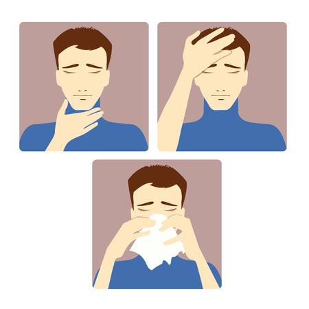 sintoma: Tr�s imagem do vetor de um homem queixando-se dor de cabe�a, dor de garganta e resfriado Cada imagem mostra sintomas de um resfriado Ilustra��o