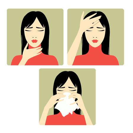sintoma: Tr�s imagem do vetor de uma mulher reclamando de dor de cabe�a, dor de garganta e resfriado Cada imagem mostra sintomas de um resfriado