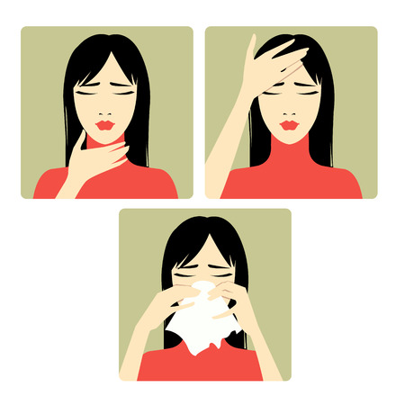 s�ntomas: Tres vector de imagen de una mujer quej�ndose de dolor de cabeza, dolor de garganta y fr�o Cada imagen muestra s�ntomas de un resfriado