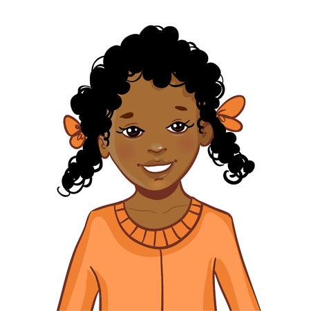 Dibujo animado Muchacha del adolescente afroamericano con el pelo rizado