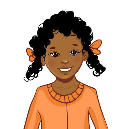 Teenager cartoon African American girl with curly hair