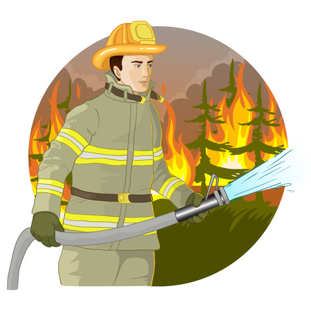 Firefighter with a fire hose against a fire Illustration