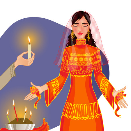 farewell party: a bride with henna pattern on her palms Illustration