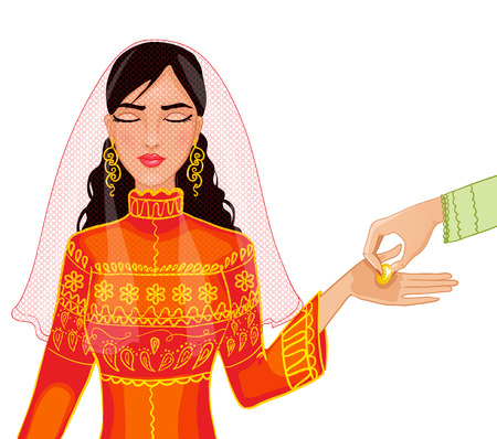 a bride with coin on her palms