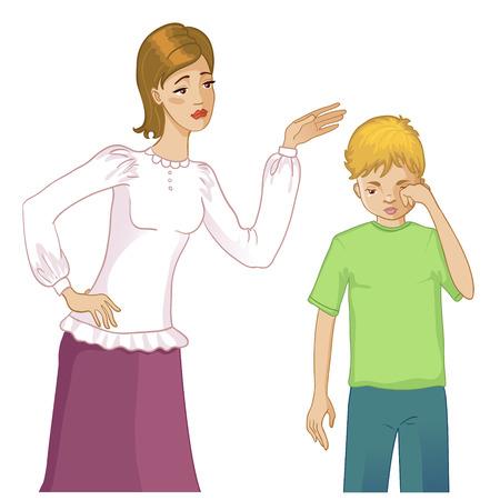 niño llorando: Madre se preocupa por su hijo llorando