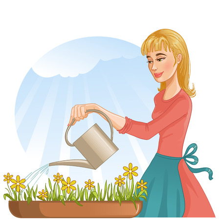 Woman watering her flowers with can, eps10 Vector